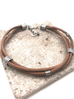 Leather and Sterling Silver Three Strand Choker or Bracelet