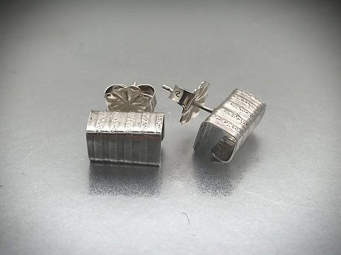 Folded rectangular box stud earrings