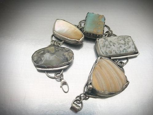 5 stone sterling chunky bracelet
