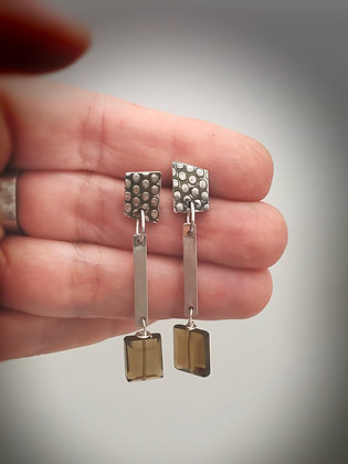 Sterling post earrings with sterling and smoky quartz dangle
