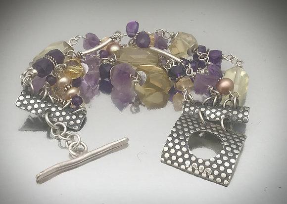 Sterling silver, amethyst and lemon quartz 5 strand bracelet