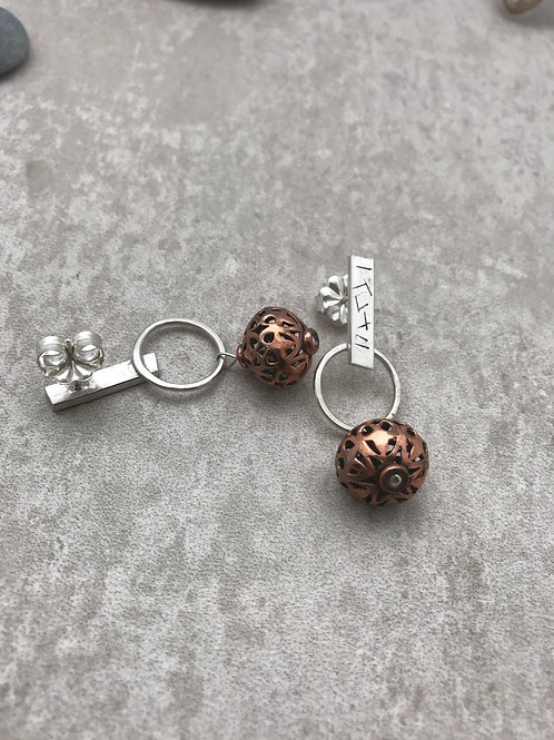 Sterling and Copper Post Style Dangle Earrings