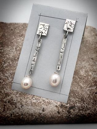 Elegant sterling post style dangle pearl earrings