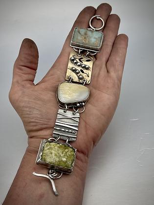 Beach Feel Bold Bracelet in Sterling, Brass, Mother of Pearl, Serpentine