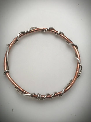 Copper and Sterling Vine Bangle