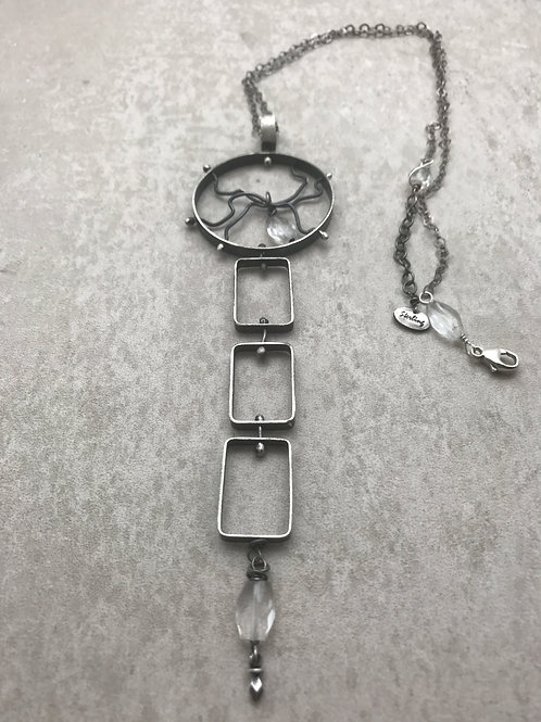 Long, Oxidized sterling pendant necklace