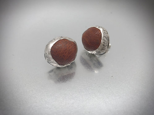 Bezel set sterling and brown leather stud earrings