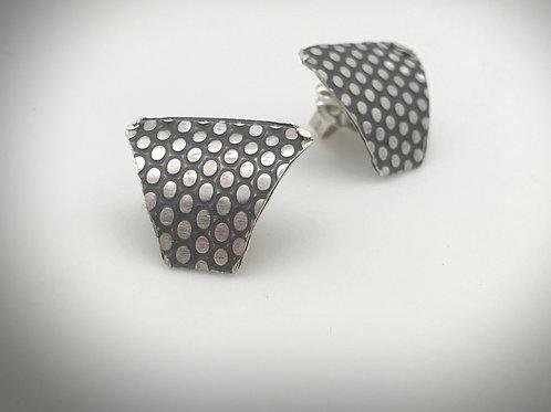 Curved shield shape sterling silver dot pattern stud earrings