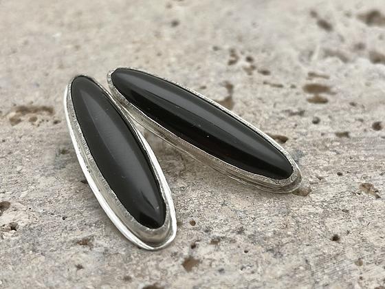 Elegant Onyx and Sterling Silver Post earrings