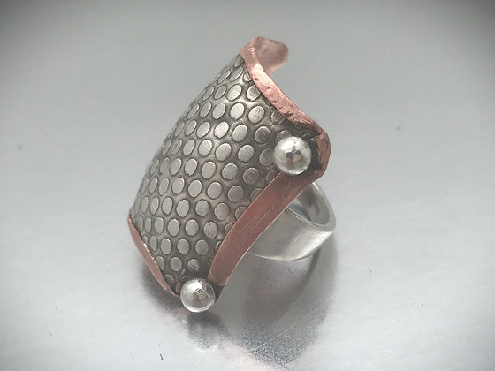 One of a kind Square Sterling and Copper ring