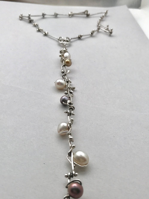 Sterling and pearl convertible necklace