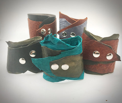 All leather double cuffs with snaps