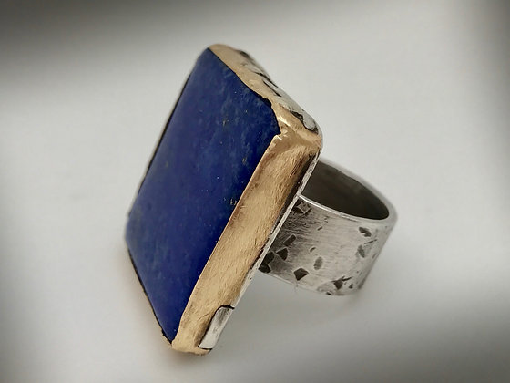 Rustic Big lapis sterling silver ring with brass bezel size 7.75