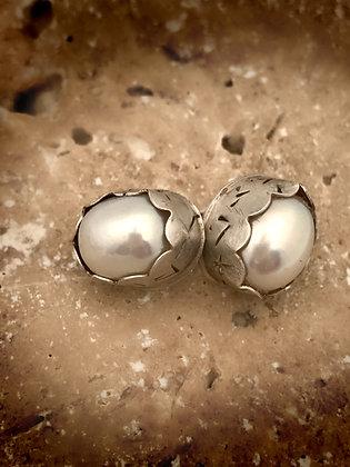 Bezel Set Pearl Earring Studs
