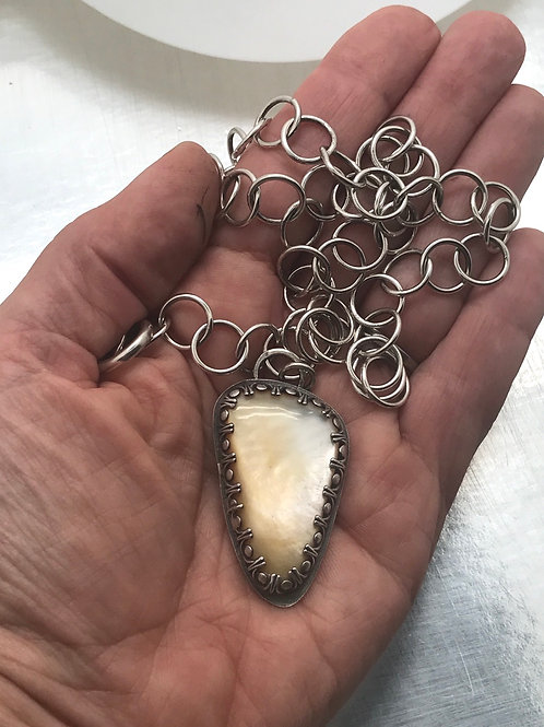 Mother of Pearl pendant with handmade sterling chain