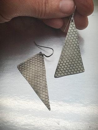 Artsy lightweight asymetrical sterling triangle earrings
