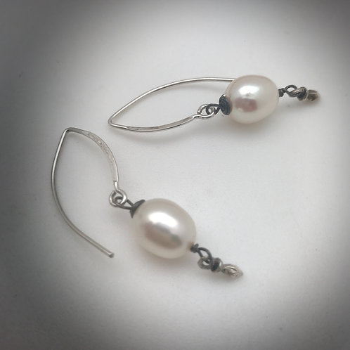Simple white pearl drops on sterling silver earwires