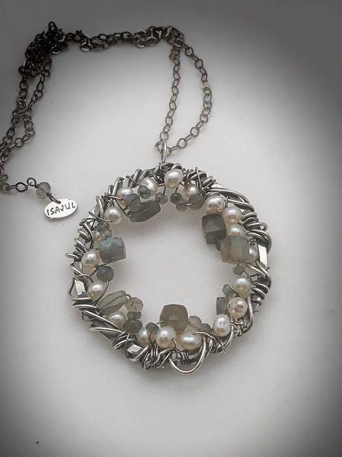 Sterling silver, pearl and labradorite 2 inch circle pendant with 20 inch sterli