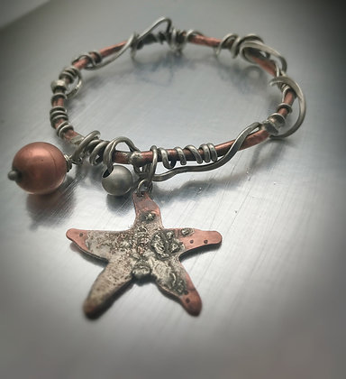 Copper and Sterling silver tendril and charm bangle