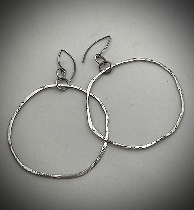 Organically shaped Sterling silver forward facing dangle hoops