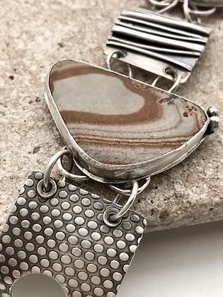 Big bold Sterling Silver and Jasper link Bracelet
