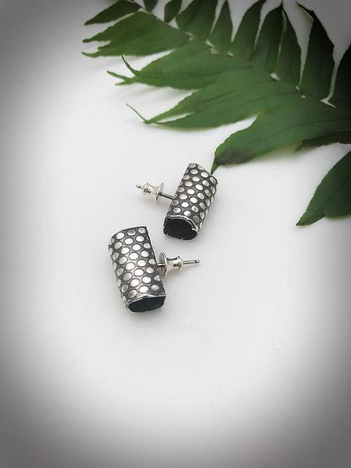 Sterling silver dot pattern tube post style earrings