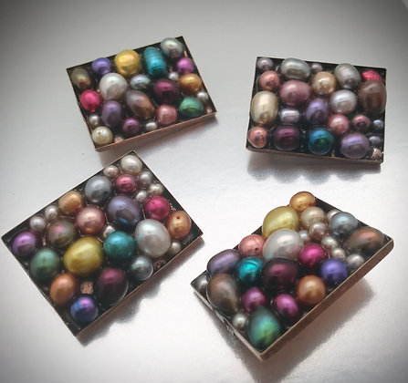 Colorful freshwater pearl rectangular brooch/pun