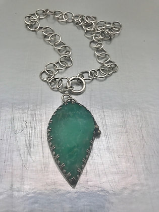 Green chrysoprase pendant with 17.75 inch handcrafted sterling chain