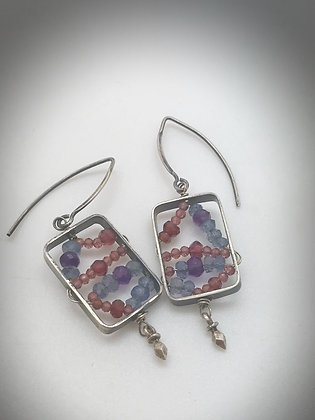 oxidized sterling rectangular dangle earrings with garnets, amethyst and isolate
