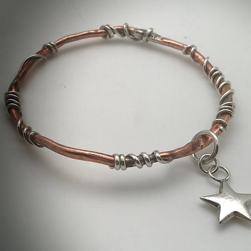 Copper and Sterling silver Vine Bracelet with puffed sterling star charm
