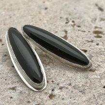 onyx and sterling bezel earrings