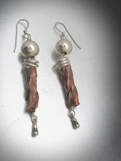 One of a kind copper and sterling dangle earrings