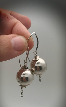 16mm sterling ball dangle earrings on elongated sterling earwire