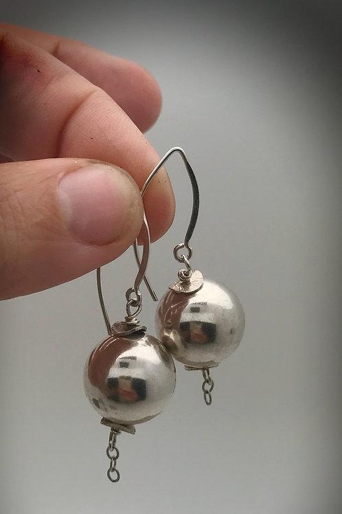 16mm sterling ball dangle earrings on elongated sterling earwire