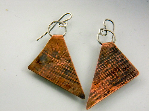 Funky, Triangular Copper and Sterling two tone Dangle Earrings