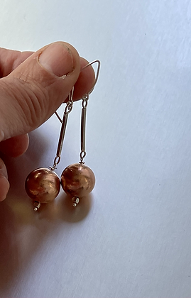 Sterling Silver and Copper Ball dangle earrings