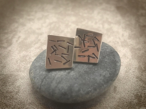 Squarish, sterling, stamped stud earrings