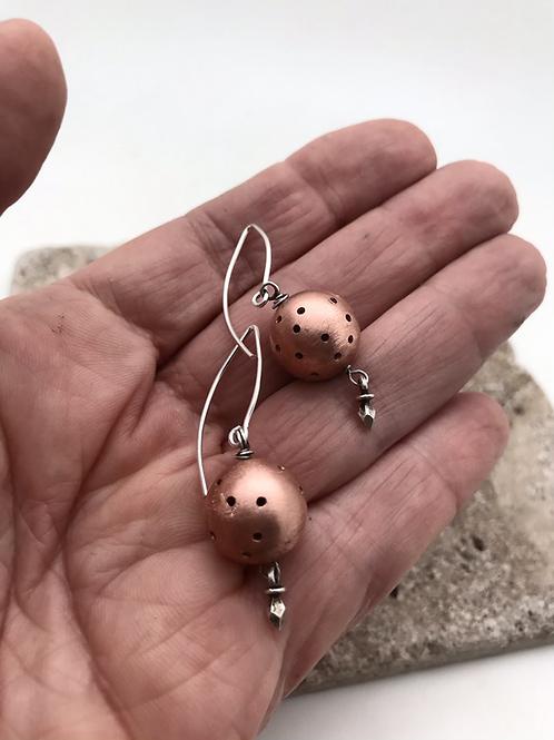 Pierced copper ball earrings with elegant sterling earwire