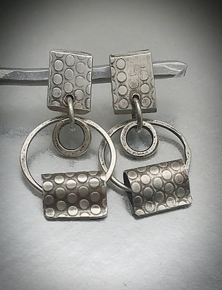 Sterling post and dangle forward facing hoop earrings