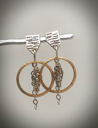 Sterling silver and brass post and dangle earrings