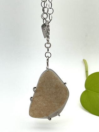 Bold Drusy Pendant hanging from handmade sterling silver chain