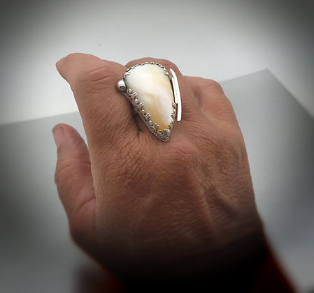One of a kind Mother of Pearl and Sterling silver Ring