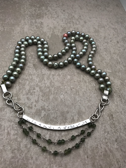 Muted graygreen freshwater pearls, green amethyst and sterling 22 inch necklace