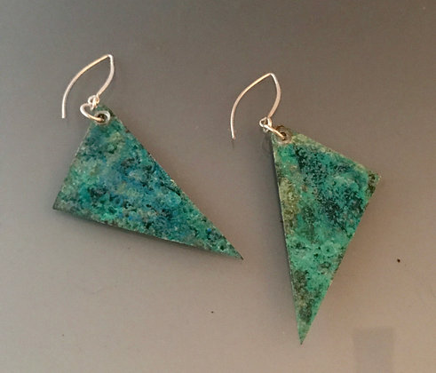 Bluegreen patina on copper triangle earrings with sterling earwire