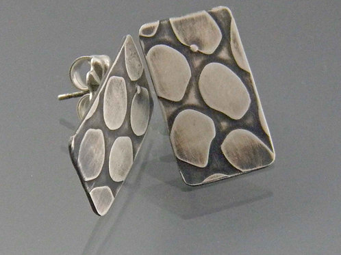 Rectangular Dot Sterling Silver Post Earrings