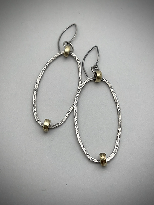 Hammered oval sterling forward facing hoops on sterling earwire