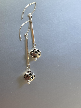 Handcrafted Sterling Dangle earrings with filigree sterling bead