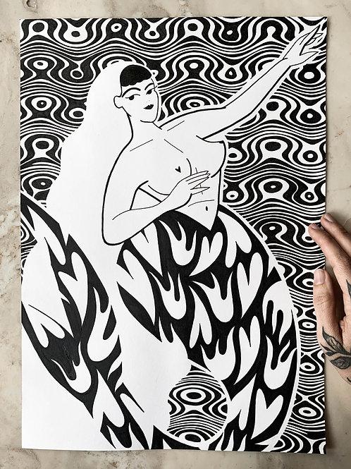SIRENA - Original A3 drawing.