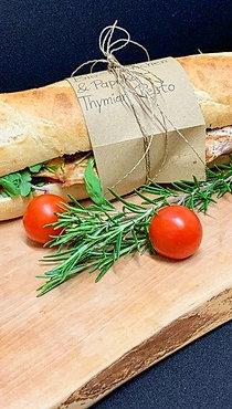 Baguette mit Biohühnchen und Thymianpesto