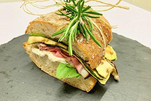 Roastbeefburger/Zucchini